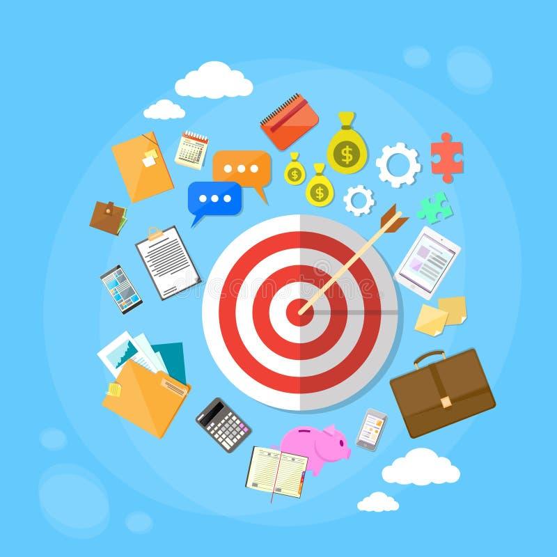 La freccia dell'obiettivo ottiene l'introduzione sul mercato di web di concetto di scopo royalty illustrazione gratis