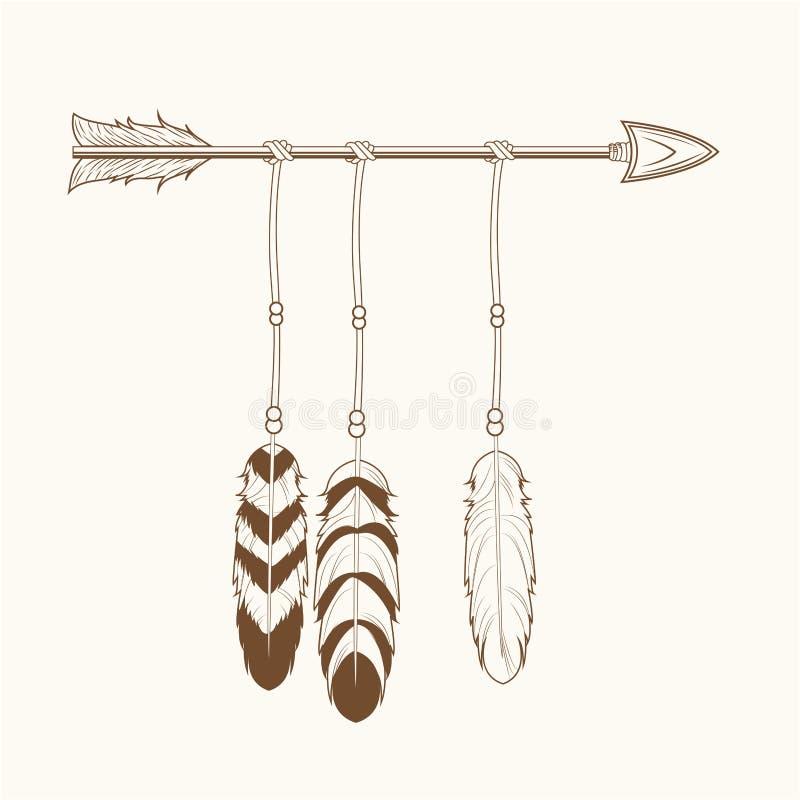 La freccia dello spirito libero mette le piume a tribale illustrazione vettoriale