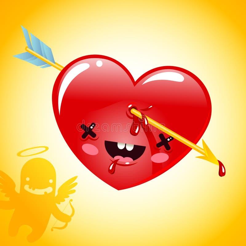 La freccia ha perforato il cuore illustrazione di stock