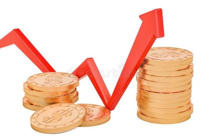 La freccia rossa della crescita con il dollaro conia, rappresentazione 3D royalty illustrazione gratis