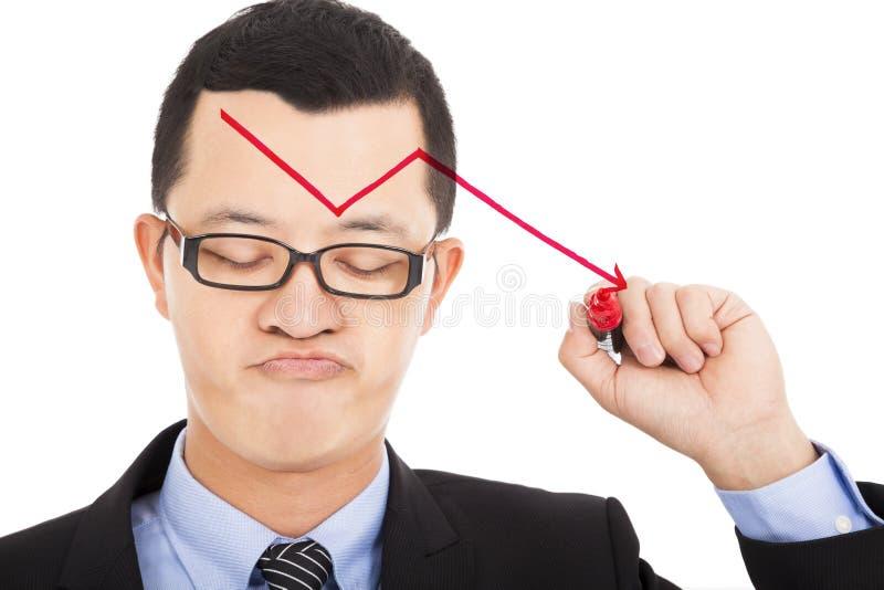 La freccia rossa di tiraggio dell'uomo d'affari giù ed il tatto deludono fotografia stock libera da diritti
