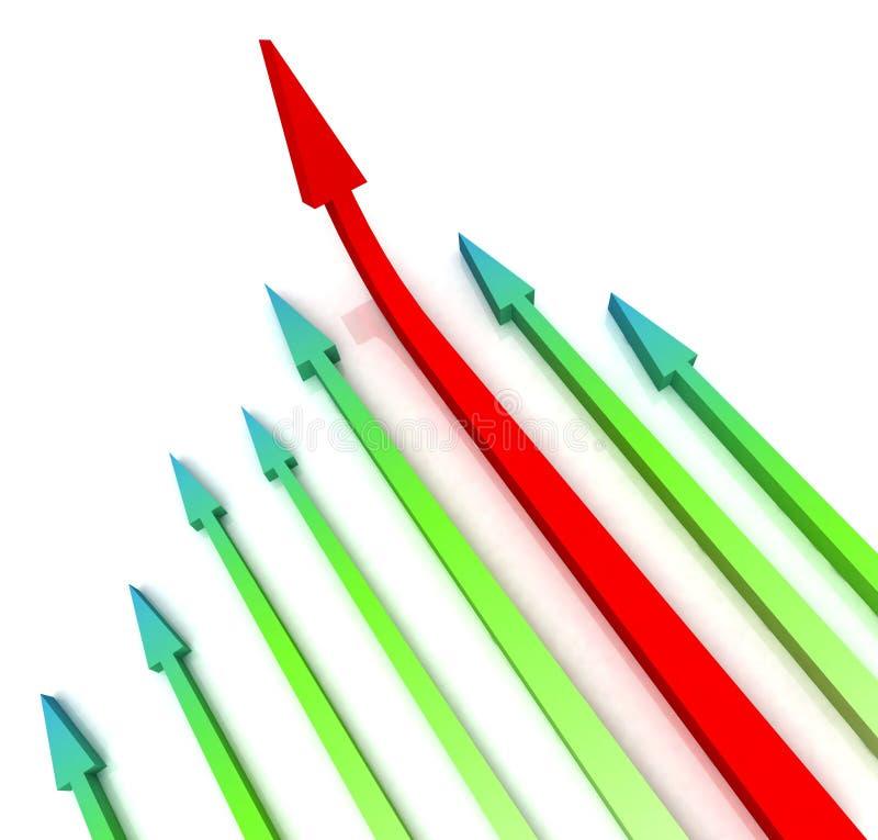 La freccia sinistra rossa avanti mostra la crescita illustrazione di stock