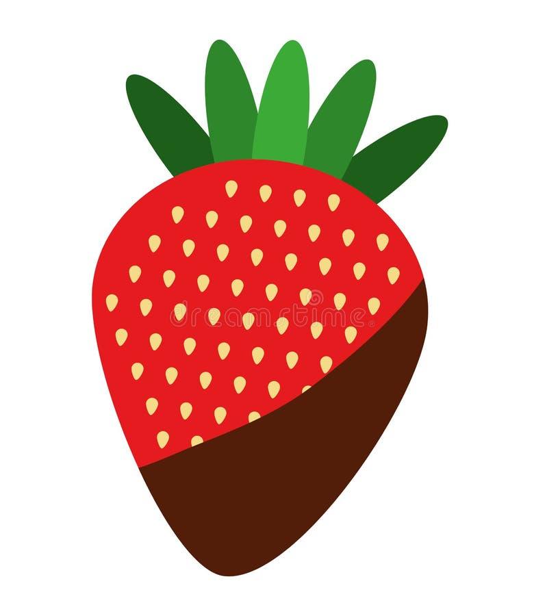 la fresa deliciosa de la fruta con crema del chocolate aisló el icono d ilustración del vector