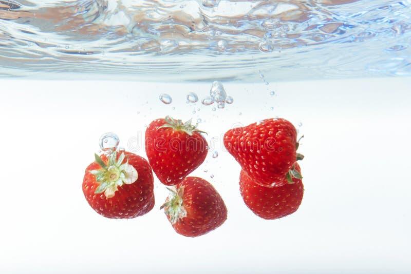 La fresa fresca cayó en el agua con el chapoteo en el backgro blanco fotografía de archivo