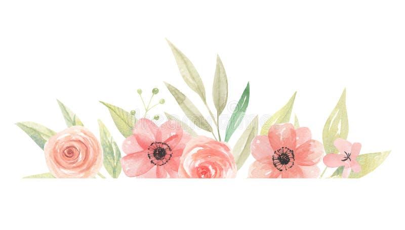 La frontera de la acuarela florece el melocotón Coral Floral Frame Leaves stock de ilustración