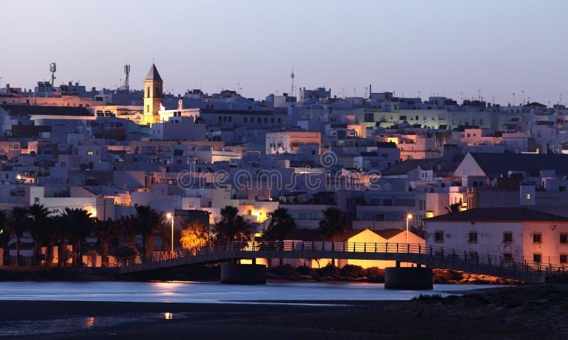 La Frontera de Conil de en la oscuridad. España imagen de archivo