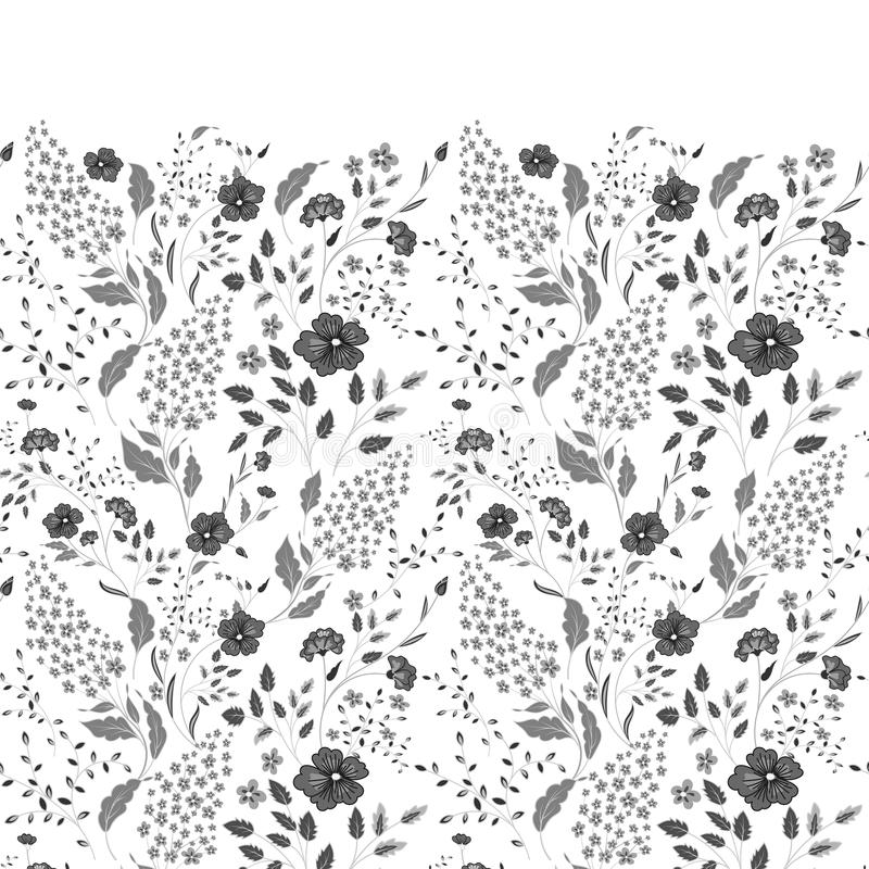 La frontera de pequeñas flores azules y blancas delicadas en fondo de los azules marinos desde arriba estilo plano de la endecha libre illustration