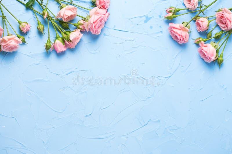 La frontera de rosas rosadas florece en backgrou texturizado azul claro foto de archivo