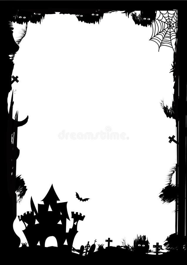 La frontera de Víspera de Todos los Santos sale de las calabazas stock de ilustración