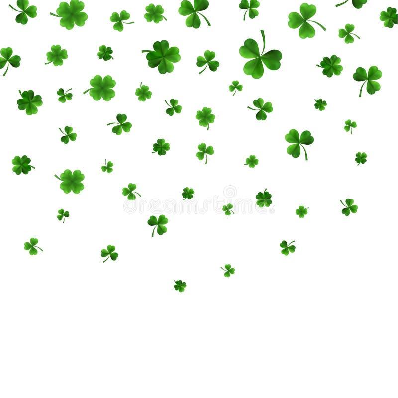 La frontera del día de St Patrick con cuatro verdes y el árbol 3D hojean los tréboles en el fondo blanco Símbolos afortunados y d libre illustration