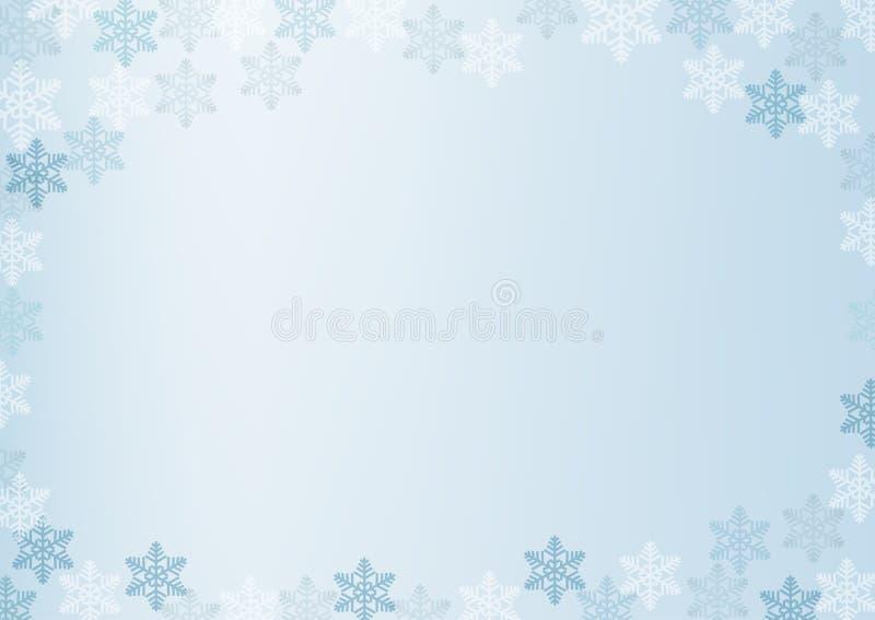 La frontera del invierno con los copos de nieve blancos y azules en azul empañó el fondo suave Papel pintado del día de fiesta de ilustración del vector
