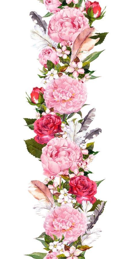 La frontera floral con la peonía rosada florece, flor de cerezo, plumas de pájaro Raya inconsútil del vintage en estilo del boho  ilustración del vector