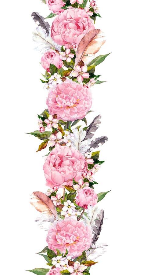 La frontera floral con la peonía rosada florece, flor de cerezo, plumas Tira inconsútil en estilo del boho watercolor ilustración del vector