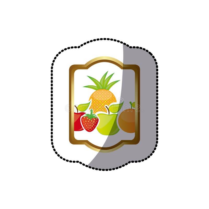la frontera heráldica del rectángulo colorido de la silueta de la etiqueta engomada con vida inmóvil da fruto ilustración del vector