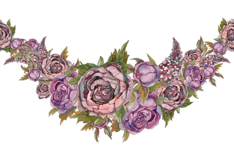 La frontera inconsútil es una guirnalda de flores Lilas de las peonías de las rosas watercolor ilustración del vector