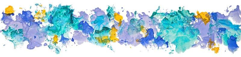La frontera larga del color de papel dibujado mano de la acuarela del aguazo mancha libre illustration