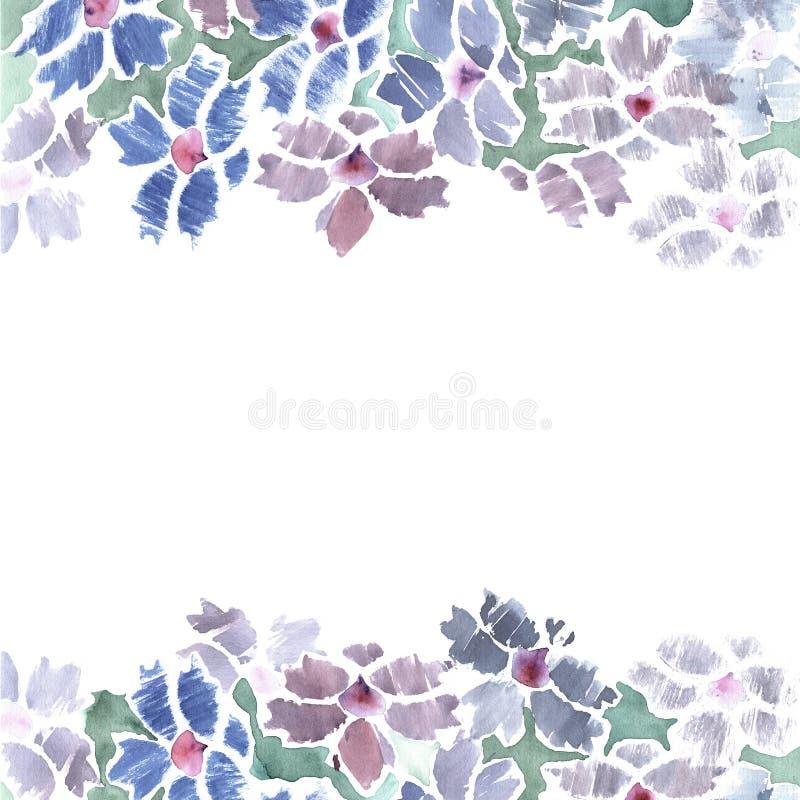 La frontera linda de la flor de la acuarela con el soltero azul abotona invitación ilustración del vector