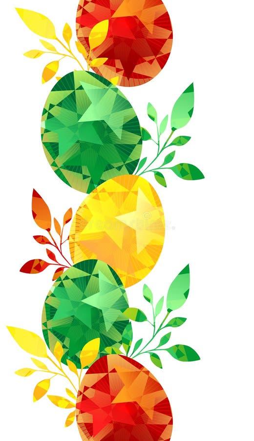 La frontera pintada de los huevos de Pascua, coloful con las hojas se puede utilizar para las tarjetas de felicitación o las inv libre illustration