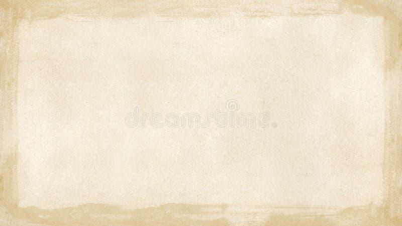 La frontera retra del grunge marrón beige texturizó el fondo PowerPoint w fotografía de archivo libre de regalías