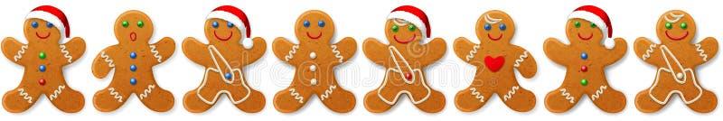 La frontera y el ornamento del vector de la Navidad de los panes de jengibre sirve -- galletas dulces ilustración del vector