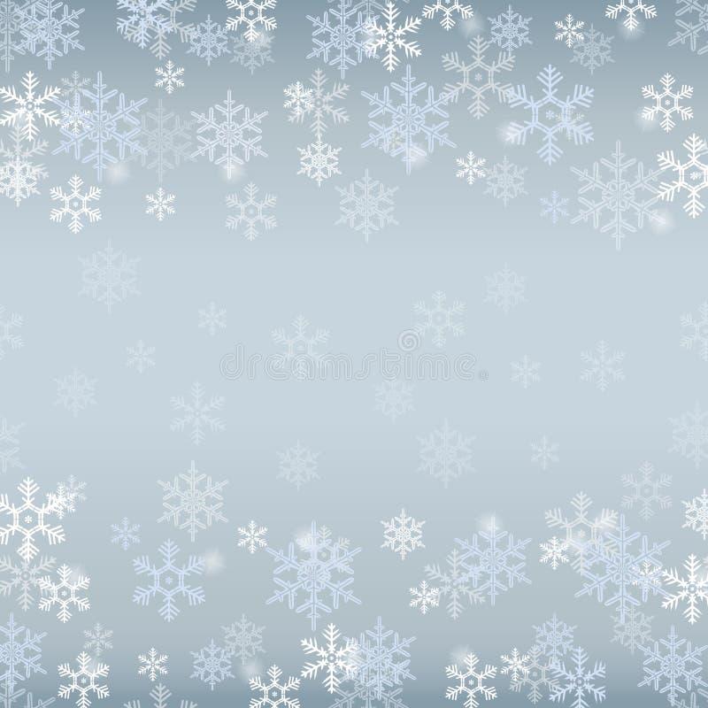La frontière d'hiver avec les flocons de neige blancs et bleus sur le bleu a brouillé le fond mou Papier peint de vacances de Noë illustration libre de droits