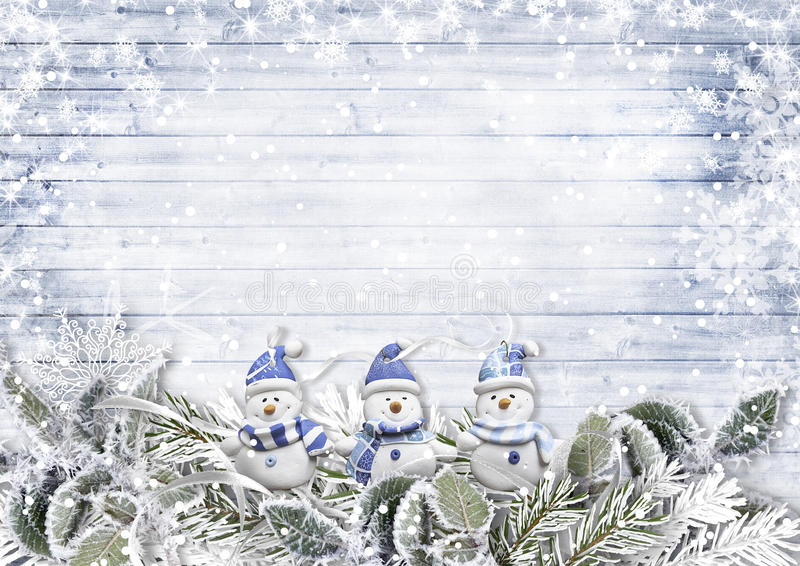 La frontière de Noël avec les snowmans et la neige s'embranche sur le bois de vintage illustration stock