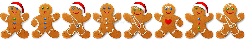 La frontière et l'ornement de vecteur de Noël des pains d'épice équipe -- biscuits doux illustration de vecteur
