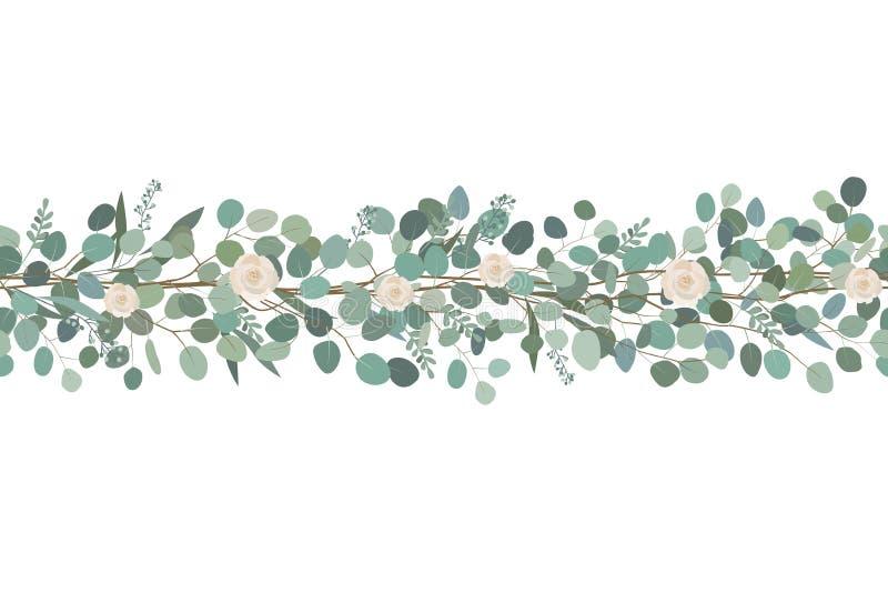La frontière sans couture élégante des roses et de l'eucalyptus s'embranche Guirlande florale Illustration de vecteur illustration stock