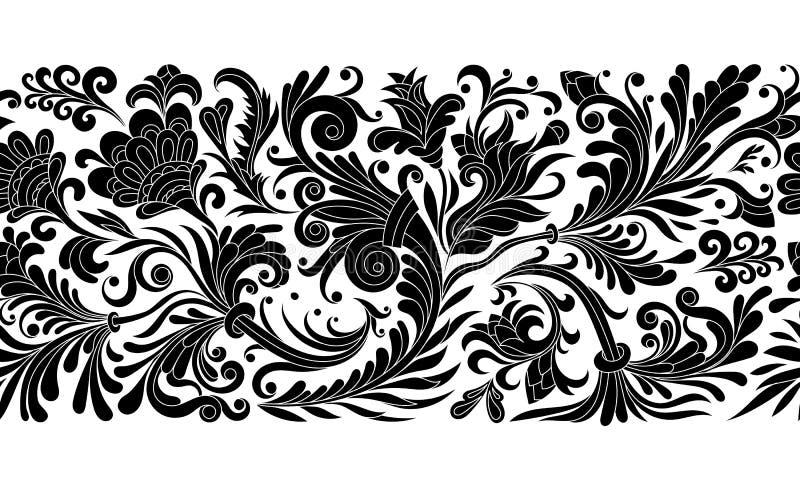 La frontière sans couture baroque florale de vintage avec les magnolias de floraison, rose et les brindilles, roses dirigent l'il illustration de vecteur