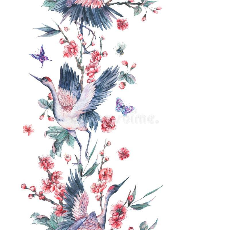 La frontière sans couture d'aquarelle avec la grue, fleurissant s'embranche illustration libre de droits