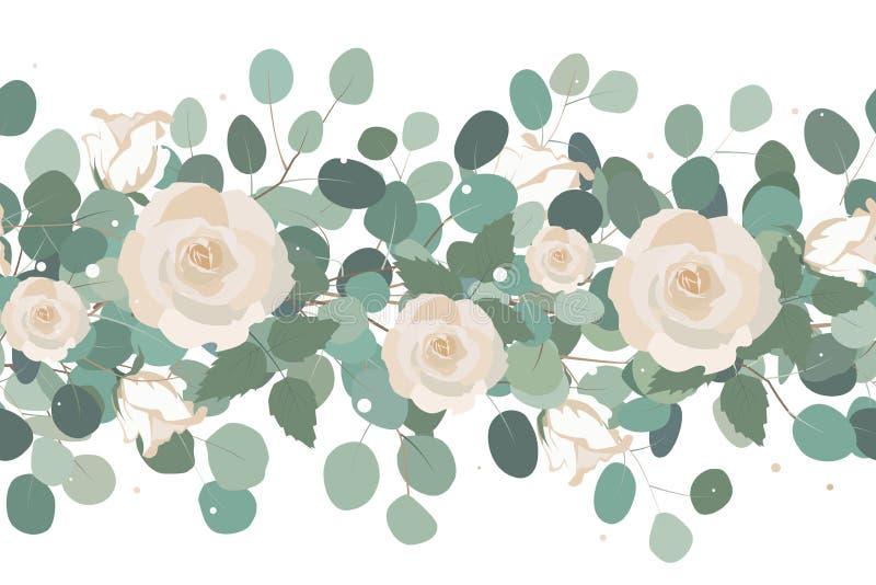 La fronti?re sans couture ?l?gante des roses et de l'eucalyptus s'embranche Guirlande florale Illustration de vecteur illustration libre de droits