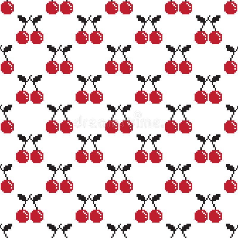 La fruta de Cherry Seamless Pattern aisló blanco y rojo del fondo del papel pintado del vector del ejemplo del pixel ilustración del vector