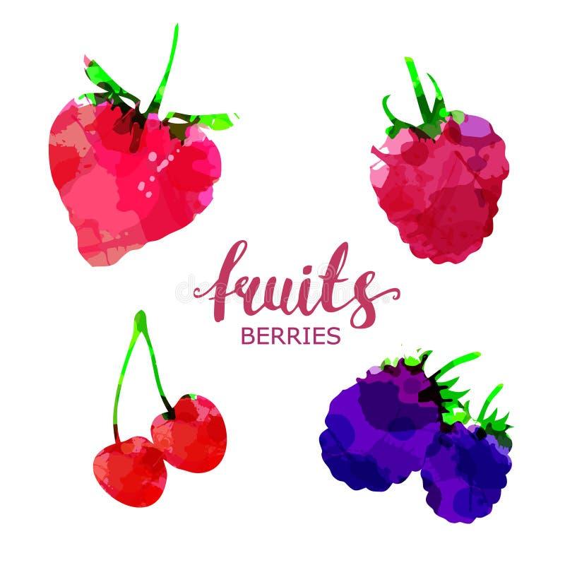 La fruta fijó manchas blancas /negras y manchas exhaustas de la acuarela con una fresa del espray, frambuesa, zarzamora, cereza,  ilustración del vector