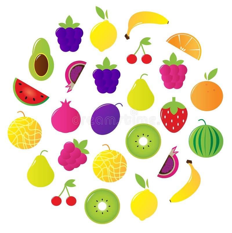 La fruta fresca y las bayas circundan aislado en blanco ilustración del vector