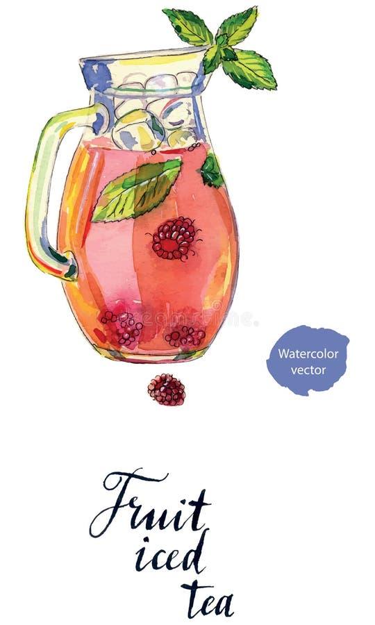 La fruta heló té en jarra libre illustration