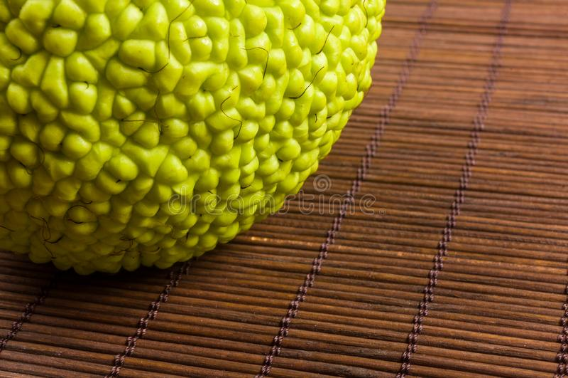 La fruta verde del pomifera del maclura, naranja de osage, manzana del caballo, nuez de Adán crece en la estera de bambú foto de archivo libre de regalías