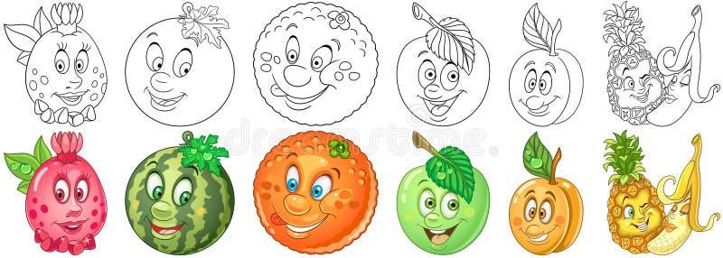 La frutta del fumetto ha impostato illustrazione di stock