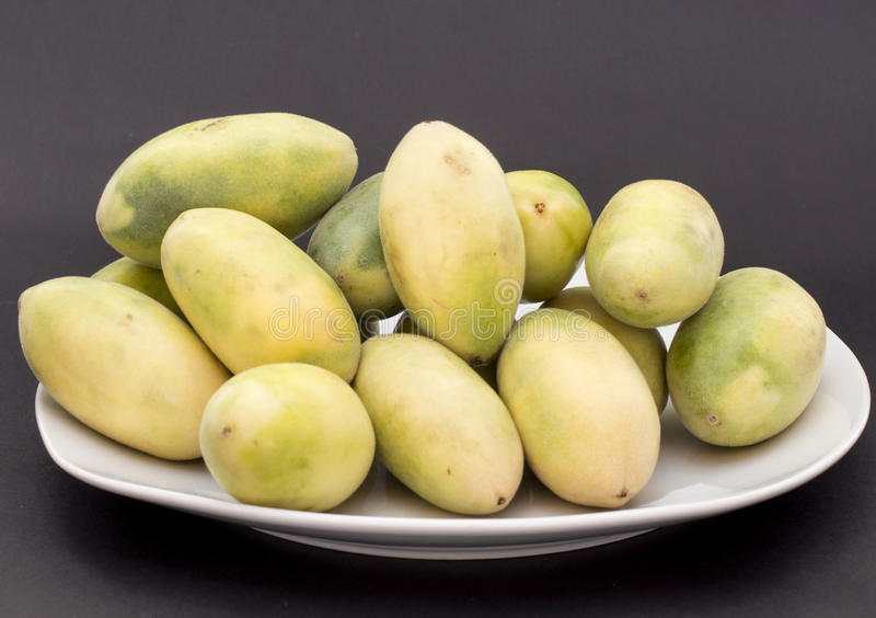 La frutta dell'America latina ha chiamato il passionfruit della banana (lat Tripartita della passiflora) (in tumbo dello Spagnolo immagine stock libera da diritti