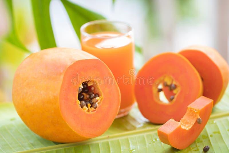 La frutta della papaia ed il barattolo esotici tropicali di vetro con il frullato scuotono J immagine stock libera da diritti