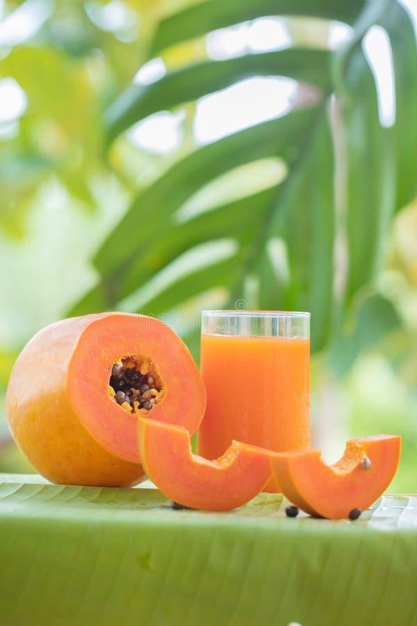 La frutta della papaia ed il barattolo esotici tropicali di vetro con il frullato scuotono J fotografie stock libere da diritti