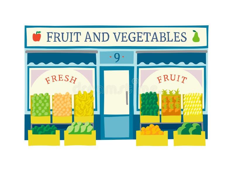 La frutta e le verdure immagazzinano l'illustrazione piana di vettore della facciata illustrazione vettoriale