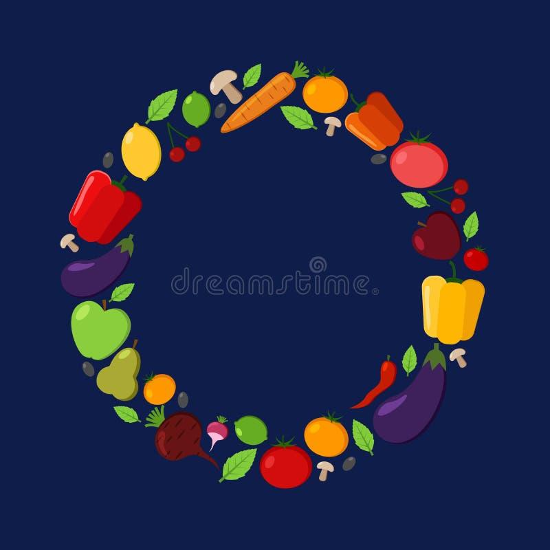 La frutta e la verdura vector la struttura del cerchio su un fondo scuro Illustrazioni piane moderne Progettazione sana dell'alim illustrazione vettoriale