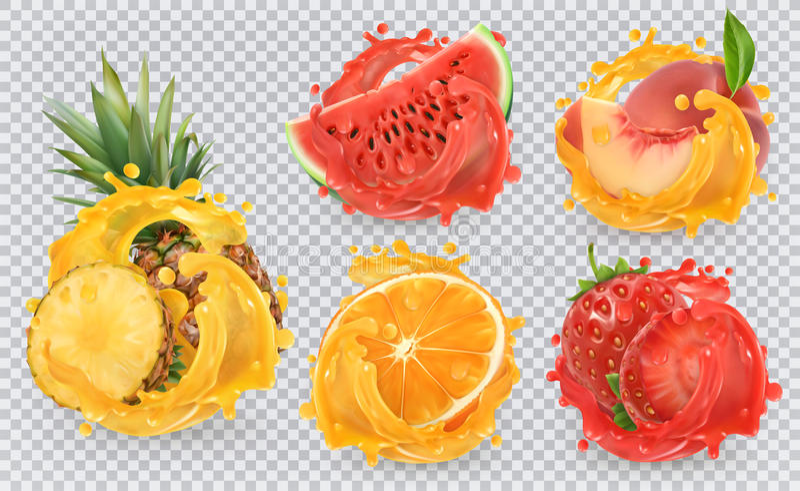 La frutta fresca e spruzza, insieme dell'icona di vettore 3d illustrazione di stock