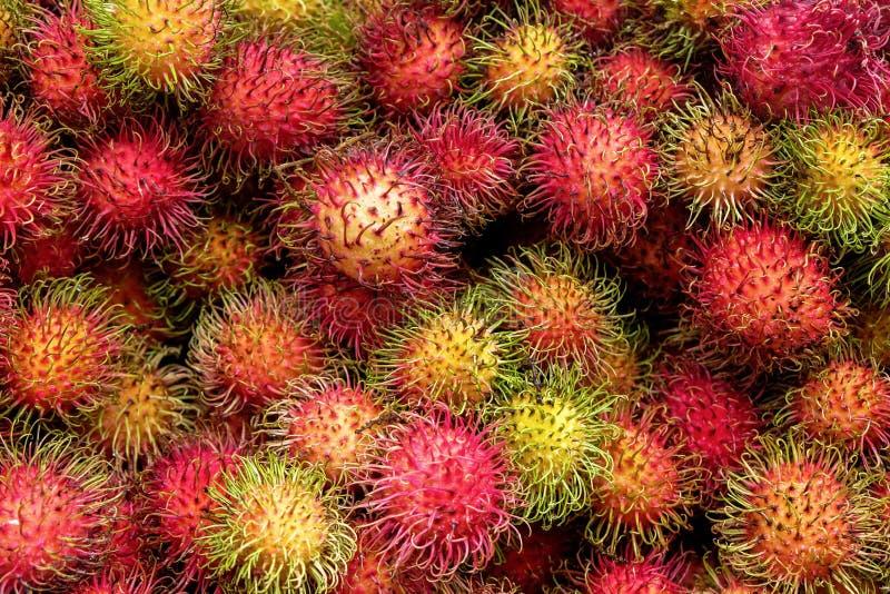 La frutta rossa del Rambutan ha impilato la cima di Ontario a vicenda fotografia stock libera da diritti