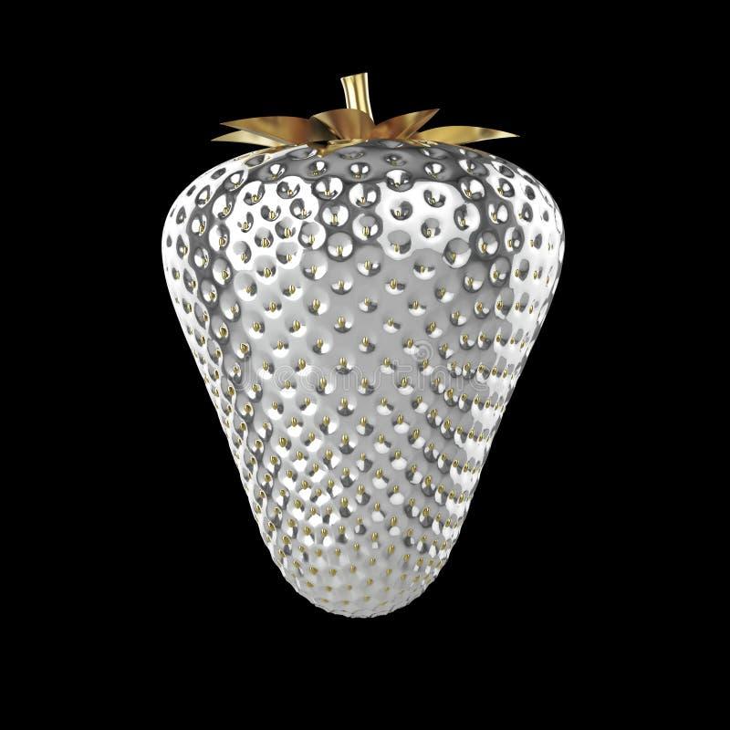 La frutta succosa di metallo della superficie dell'argento dell'estate naturale brillante e sfumata della fragola con la foglia h illustrazione vettoriale