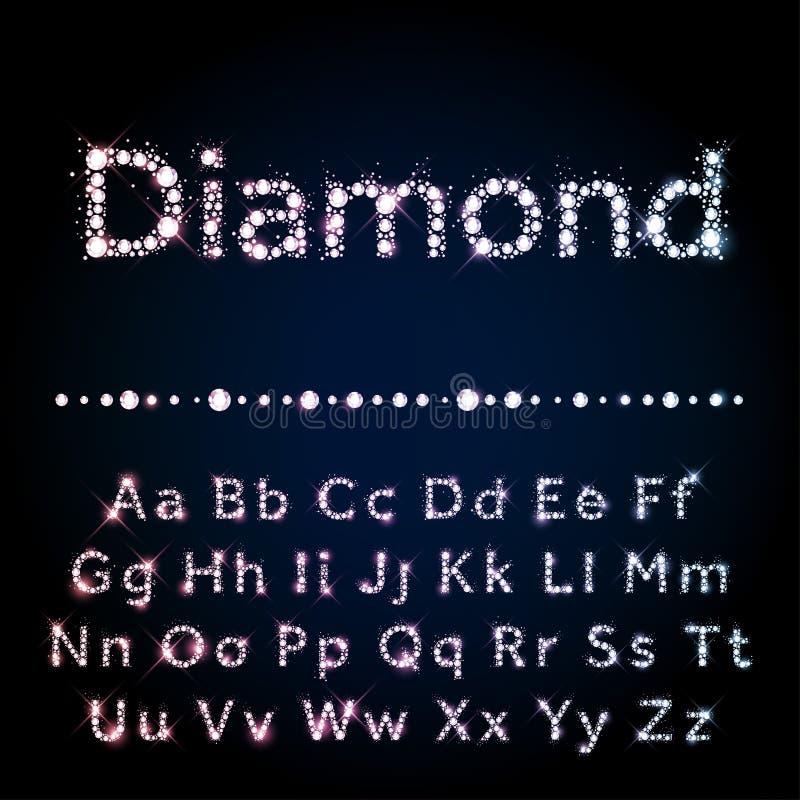La fuente brillante del diamante fijó A a mayúscula y minúscula de Z stock de ilustración