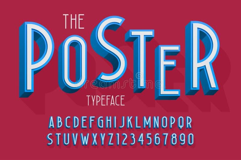 La fuente 3d, las letras y los números abstractos vector el ejemplo libre illustration