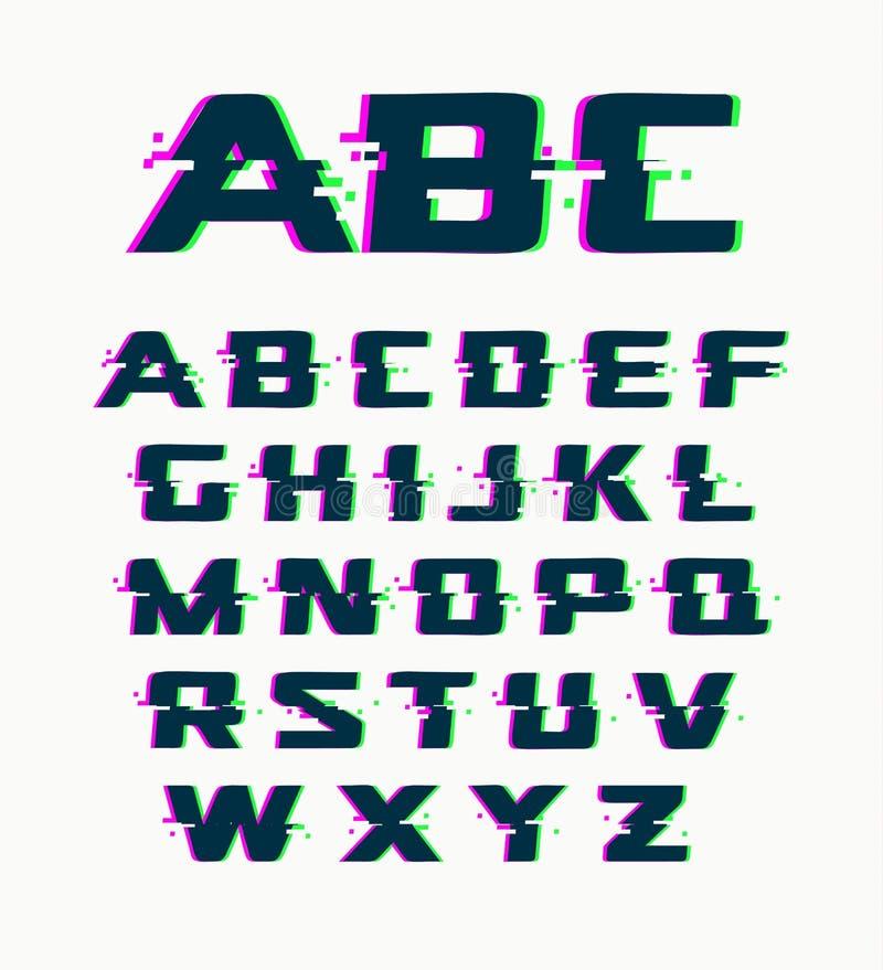 La fuente de la interferencia, vector aisló símbolos abstractos con el ruido digital, alfabeto del diseño moderno en el fondo bla stock de ilustración