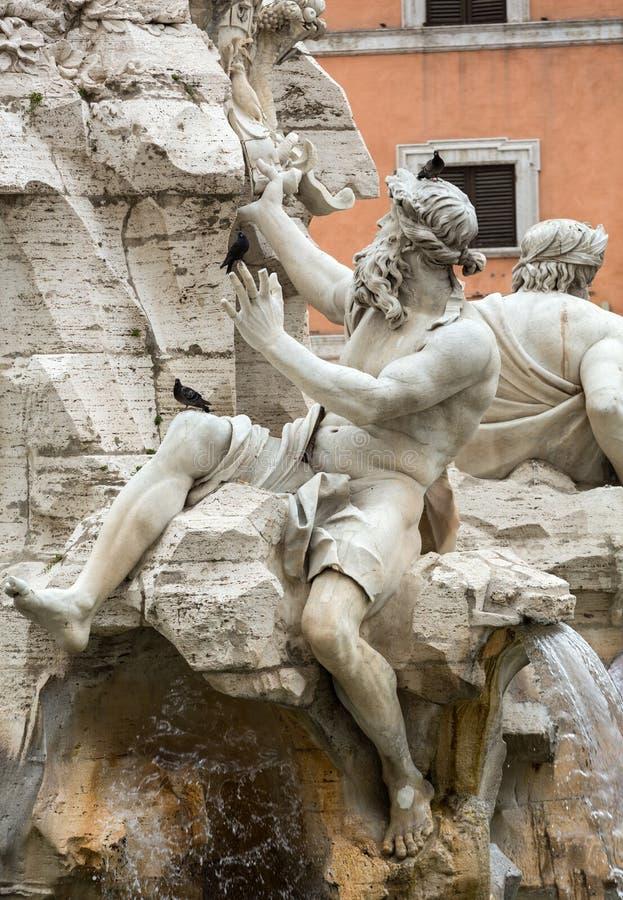 La fuente de los cuatro ríos - plaza Navona, Roma imágenes de archivo libres de regalías