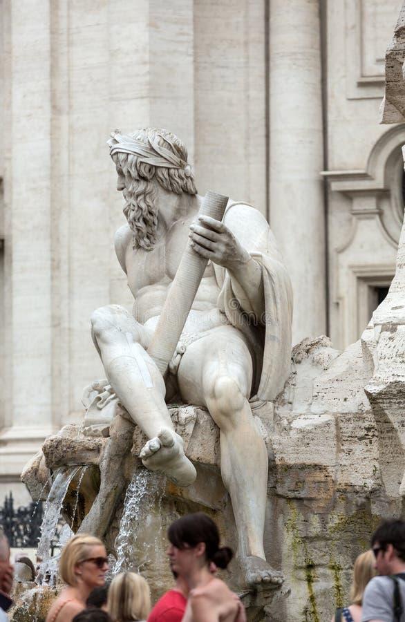 La fuente de los cuatro ríos - plaza Navona, Roma, imagen de archivo libre de regalías